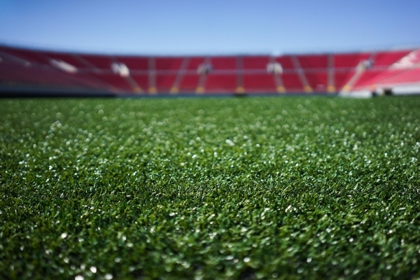 New astroturf is seen at the Sam Boyd Stadium on Thursday, July 23 2015. The Sam Boyd stadium got new turf and widened the field to better accommodate rugby and soccer. (James Tensuan/Las Vegas Re ...