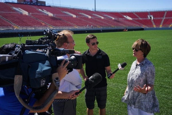 UNLV athletic director Tina Kunzer-Murphy is interviewed at the Sam Boyd Stadium on Thursday, July 23 2015. The Sam Boyd stadium got new turf and widened the field to better accommodate rugby and  ...