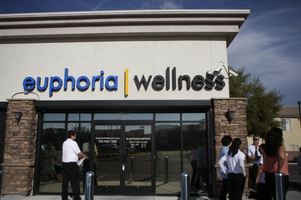 Marijuana dispensary Euphoria Wellness is seen during its ribbon-cutting ceremony March 31, 2015, in Las Vegas. Guests received a preview tour of the marijuana dispensary, which is expected to be  ...