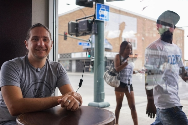 Jeff Grindley, a bartender at Atomic Liquors, poses at the Beat Coffeehouse and Records on Wednesday, July 22, 2015. The Bunkhouse Saloon, Bar+Bistro and Insert Coin have all recently closed. (Jam ...