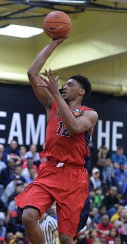 UNLV recruit Justin Jackson puts up a shot while competing for Findlay Prep during the High School Nationals in New York on April 3. BRETT LE BLANC/DAILY COMMERCIAL