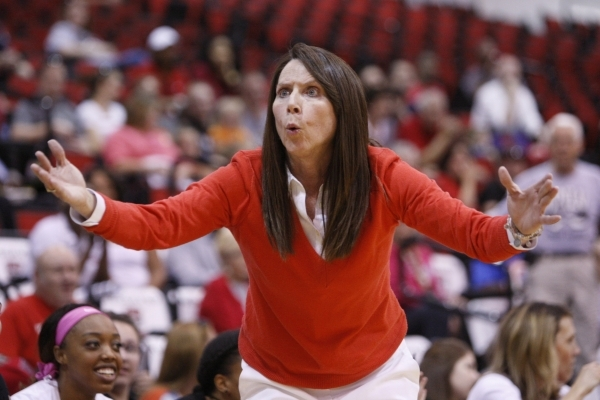 UNLV's head coach Kathy Olivier reacts during a play in their women's basketball game against New Mexico at Cox Pavilion in Las Vegas Saturday, Feb. 21, 2015. UNLV won 79-73. (Erik Ver ...