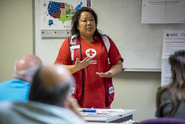 Lynn Rivera, a preparedness and response specialist, speaks at a Red Cross training session Saturday. Participants learned skills needed to teach children how to prepare for disasters. (Joshua Dah ...