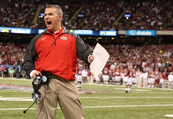 Ohio State Buckeyes coach Urban Meyer, shown during last season's College Football Playoff national semifinal game against Alabama on Jan. 1 in New Orleans, may move senior Braxton Miller, o ...