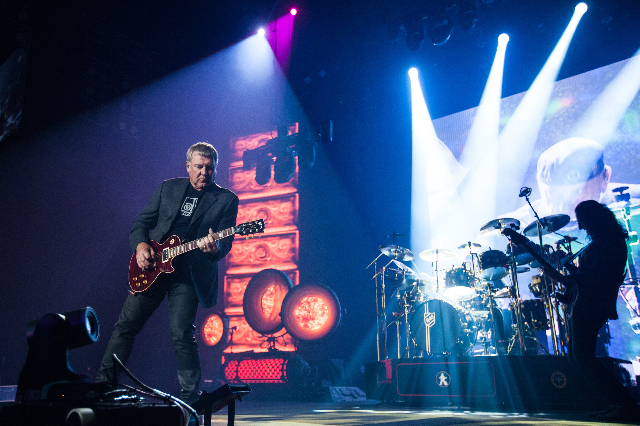 "Alex Lifeson, left, of Rush performs at the MGM Grand Garden Arena as part of their ""R40 Live 40th Anniversary Tour"" in Las Vegas on Saturday, July 25, 2015. (Chase Stevens/Las Vegas Rev ..."