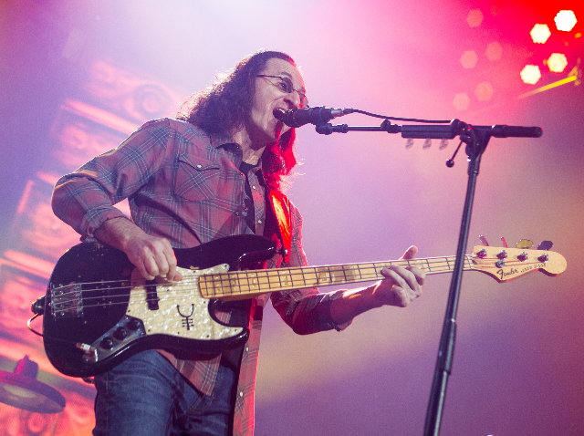 "Geddy Lee of Rush performs at the MGM Grand Garden Arena as part of their ""R40 Live 40th Anniversary Tour"" in Las Vegas on Saturday, July 25, 2015. (Chase Stevens/Las Vegas Review-Journa ..."