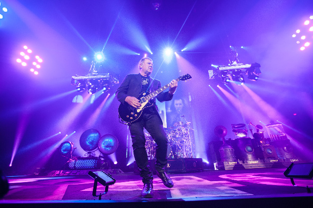 "Alex Lifeson of Rush performs at the MGM Grand Garden Arena as part of their ""R40 Live 40th Anniversary Tour"" in Las Vegas on Saturday, July 25, 2015. (Chase Stevens/Las Vegas Review-Jou ..."