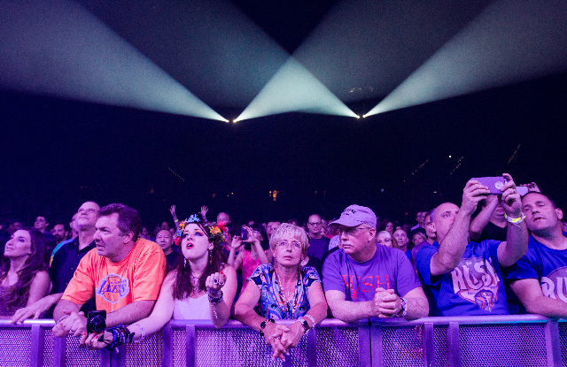 "Fans watch as Rush performs at the MGM Grand Garden Arena as part of their ""R40 Live 40th Anniversary Tour"" in Las Vegas on Saturday, July 25, 2015. (Chase Stevens/Las Vegas Review-Journ ..."