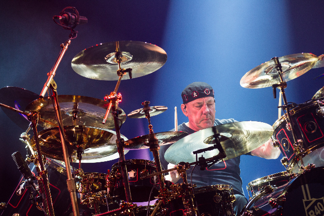 "Neil Peart of Rush performs at the MGM Grand Garden Arena as part of their ""R40 Live 40th Anniversary Tour"" in Las Vegas on Saturday, July 25, 2015. (Chase Stevens/Las Vegas Review-Journ ..."