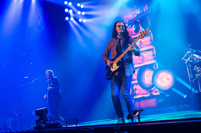 "Alex Lifeson, left, and Geddy Lee of Rush perform at the MGM Grand Garden Arena as part of their ""R40 Live 40th Anniversary Tour"" in Las Vegas on Saturday, July 25, 2015. (Chase Stevens/ ..."