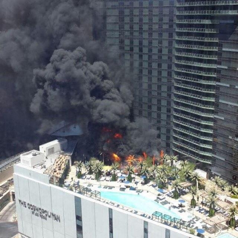 Fire at the Cosmopolitan on July 25, 2015. (Lance Lieng/Facebook)