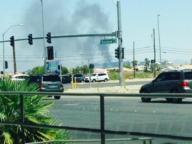 Fire at the Cosmopolitan on July 25, 2015, as seen from Mountain's Edge. (Raquel Elias/Facebook)