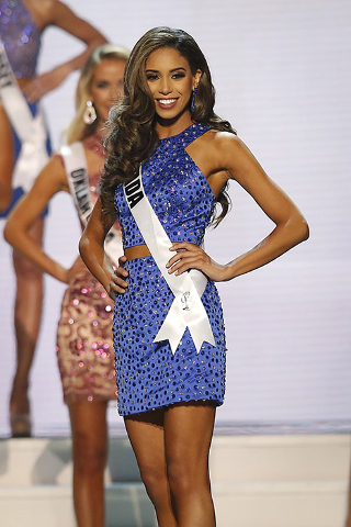 Miss Nevada USA Brittany McGowan poses on stage during the 2015 Miss USA beauty pageant in Baton Rouge, Louisiana July 12, 2015.
