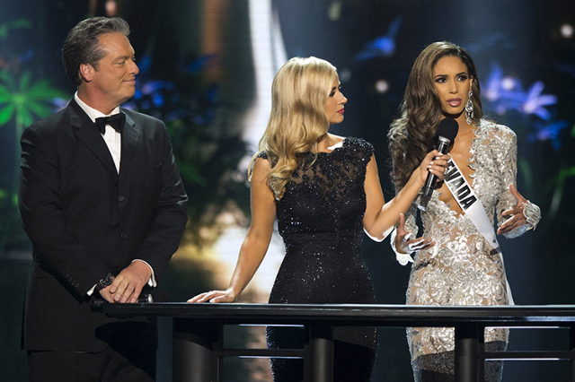 Miss Nevada USA Brittany McGowan answers a question during the 2015 Miss USA beauty pageant in Baton Rouge, Louisiana July 12, 2015.