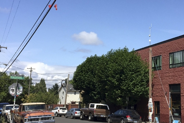 A pair of sex toys hang over power lines above a residential street in Portland, Oregon July 13, 2015. (Courtney Sherwood/Reuters)