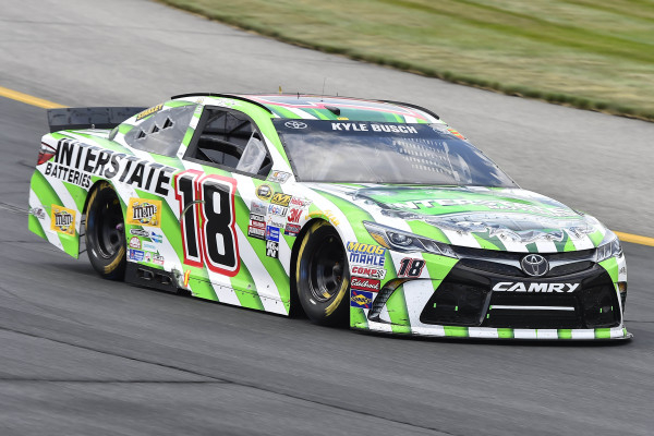Jul 19, 2015; Loudon, NH, USA; NASCAR Sprint Cup Series driver Kyle Busch (18) during the 5-Hour Energy 301 at New Hampshire Motor Speedway. Mandatory Credit: Jasen Vinlove-USA TODAY Sports
