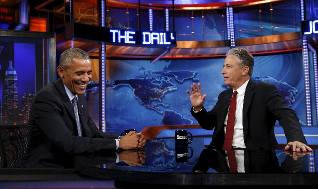 U.S. President Barack Obama makes an appearance on The Daily Show with Jon Stewart in New York July 21, 2015. (Kevin Lamarque/Reuters)