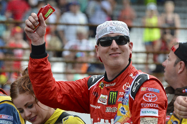 Las Vegas native Kyle Busch reacts after winning the Crown Royal 400 at Indianapolis Motor Speedway on Sunday. (Jasen Vinlove/USA Today)