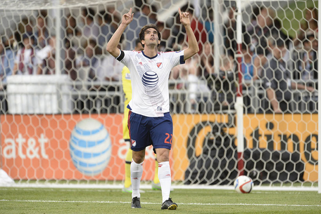Jul 29, 2015; Denver, CO, USA; MLS All Stars midfielder Kaka (22) of Orlando City SC celebrates a goal over the Tottenham Hotspur during the first half of the 2015 MLS All Star Game at Dick' ...