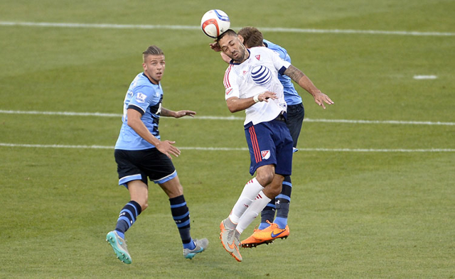 Jul 29, 2015; Denver, CO, USA; MLS All Stars forward Clint Dempsey (2) of the Seattle Sounders FC heads the ball ahead of Tottenham Hotspur defender Toby Alderweireld (4) during the first half of  ...