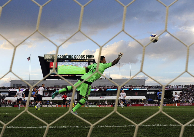 Jul 29, 2015; Denver, CO, USA; MLS All Star goalkeeper Nick Rimando (18) of Real Salt Lake cannot make a save on a goal by Tottenham Hotspur forward Harry Kane (18) during the first half of the 20 ...