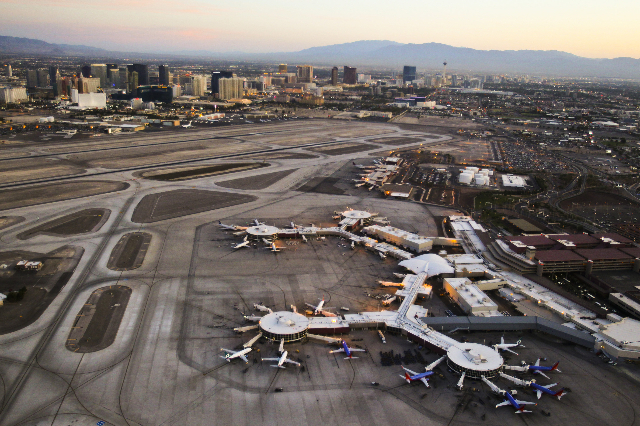 Aerial view of McCarran International Airport in Las Vegas, Friday, June 15, 2012. (Jeff Scheid/Las Vegas Review-Journal)