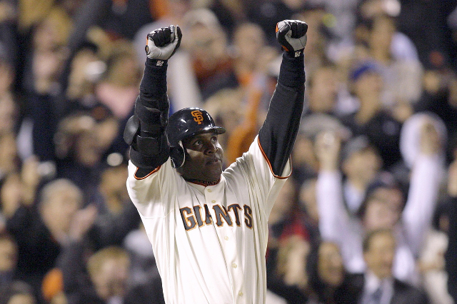 San Francisco Giants Barry Bonds celebrates hitting his 756th home run in the fifth inning of their MLB National League baseball game against the Washington Nationals in San Francisco, California  ...