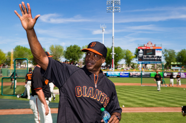 Mar 10, 2014; Scottsdale, AZ, USA; San Francisco Giants former outfielder Barry Bonds waves to the fans prior to the game against the Chicago Cubs at Scottsdale Stadium. (Mark J. Rebilas/USA Today ...
