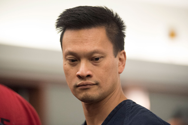 Dr. Binh Minh Chung is seen at the Regional Justice Center in Las Vegas on July 1, 2015. Chung is charged with nearly a dozen child pornography charges after police raided his office and home. (Ma ...