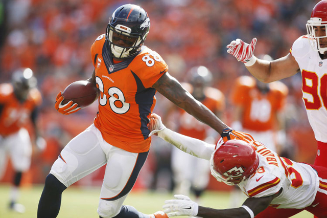 Denver Broncos wide receiver Demaryius Thomas (88) catches a pass during the second half against the Kansas City Chiefs at Sports Authority Field at Mile High in Denver, CO on Sep 14, 2014. (Chris ...