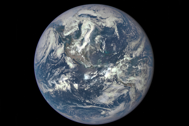 Earth as seen on July 6, 2015 from a distance of one million miles by a NASA scientific camera aboard the Deep Space Climate Observatory spacecraft. The image was released by NASA on July 20, 2015 ...