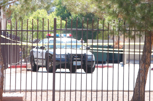 Las Vegas police investigate a fatal shooting at the Ridge Falls apartment complex in the 2800 block of East Charleston, Tuesday, July 21, 2015. (Bizuayehu Tesfaye/Las Vegas Review-Journal) Follow ...