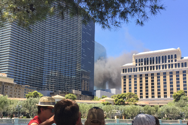 The Clark County Fire Department is responding to a fire near The Cosmopolitan of Las Vegas on the Strip on Saturday, July 25, 2015. (Joshua Dahl/Las Vegas Review-Journal)