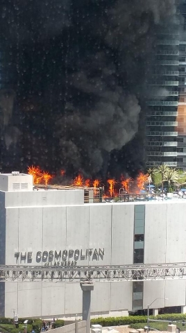 Fire at the Cosmopolitan on July 25, 2015. (Melissa Zea/Twitter)