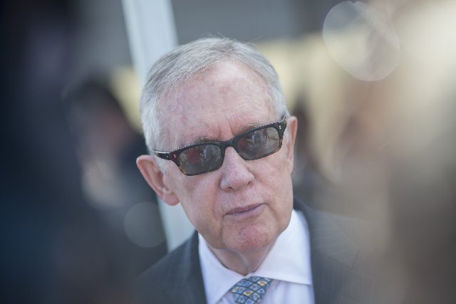 Senate Minority Leader Harry Reid speaks to reporters during the grand opening ceremony of the Eldorado Valley  Regional Public Safety Training Facility in Boulder City on Wednesday, May 27, 2015. ...