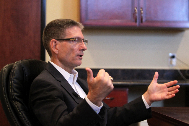 U.S. Representative Joe Heck meets with the press at Red Rock Strategies on Monday, July 6, 2015. Heck will be running for a seat on the U.S. Senate. (James Tensuan/Las Vegas Review-Journal) Follo ...