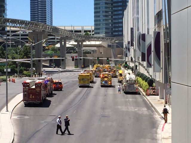 Clark County and Las Vegas fire units are seen on Harmon Avenue, reponding to a fire at the pool are of The Cosmopolitan of Las Vegas, Saturday, July 25, 2015. (Chase Stevens/Las Vegas Review-Jour ...