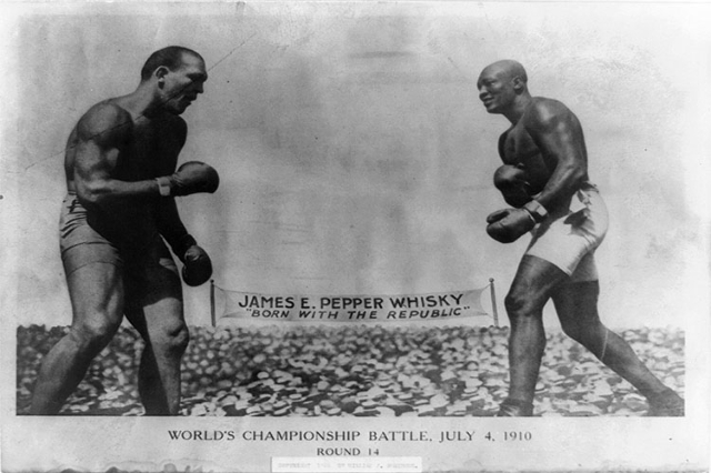 This photo features Round 14 in the World's Championship Battle on July 4, 1910 between Jack Johnson and James Jeffries in Reno, Nevada. (courtesy, Library of Congress)