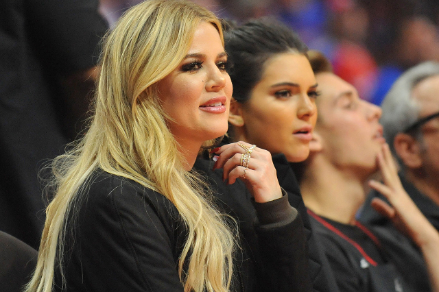 May 8, 2015; Los Angeles, CA, USA; Television personalities Khloe Kardashian and Kendall Jenner in attendance as the Houston Rockets play against the Los Angeles Clippers during the first half in  ...