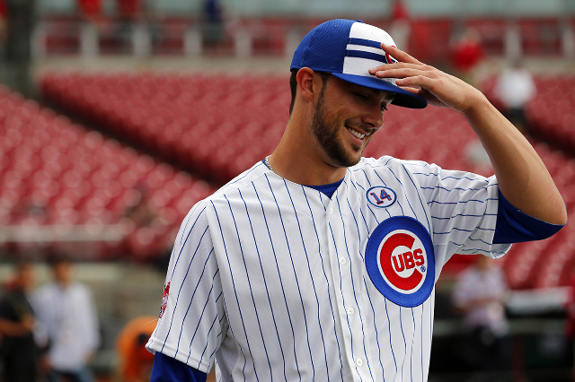 Jul 14, 2015; Cincinnati, OH, USA; National League third baseman Kris Bryant (17) of the Chicago Cubs prior to the 2015 MLB All Star Game at Great American Ball Park. (Rick Osentoski/USA TodaySports)