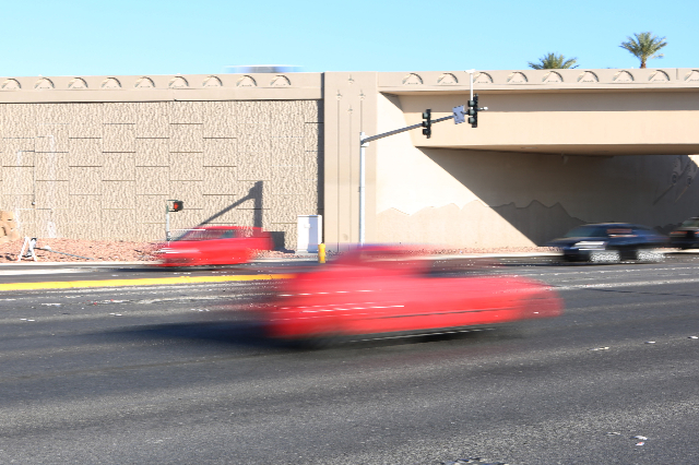 North Lamb Boulevard near Interstate 15 is shown Monday, July 13, 2015. Two people were killed and two others hospitalized after a five-vehicle crash at the intersection on Sunday night, July 12.  ...