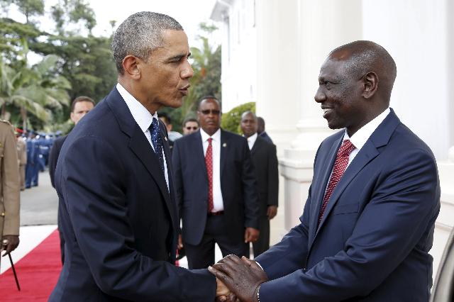 President Barack Obama,left, meets Kenya's Deputy President William Samoei Ruto at the State House in Kenya's capital Nairobi, July 25, 2015. (Charles Kimani/Presidential Press Service ...