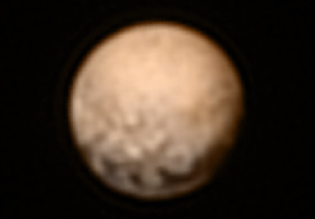 This is one of the most recent high-resolution views of Pluto sent by NASA's New Horizons spacecraft. The Long Range Reconnaissance Imager (LORRI) obtained these three images between July 1  ...