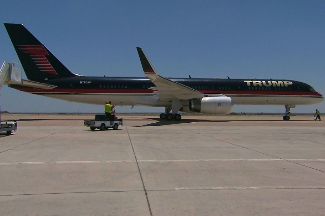 Donald Trump's private jet lands in Laredo, Texas ahead of his U.S./Mexico border tour on Thursday, July 23, 2015. (CNN)