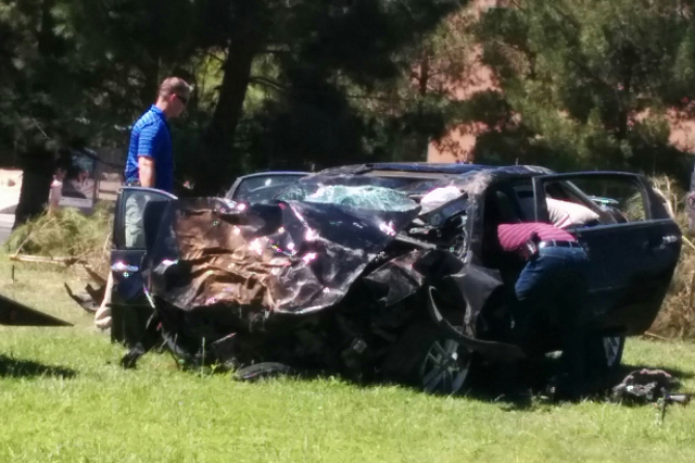 A woman is dead after a rollover crash Saturday morning near the Las Vegas Strip, according to police. (Courtesy Logan Larkin)