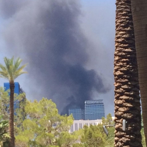 Fire at the Cosmopolitan on July 25, 2015. (Steve Kaye/Twitter)