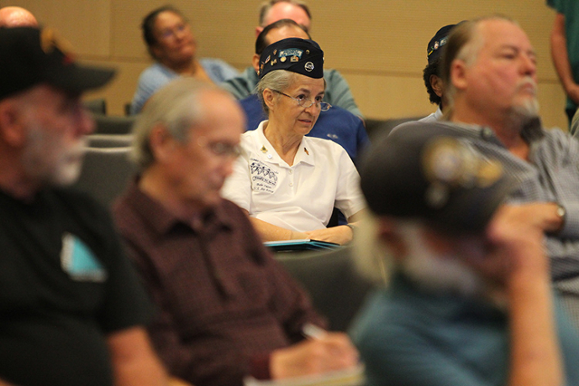U.S. Air Force veteran Bobi Oates listens during a veterans town hall at the VA Southern Nevada Healthcare System in North Las Vegas Wednesday, March 18, 2015. (Erik Verduzco/Las Vegas Review-Journal)