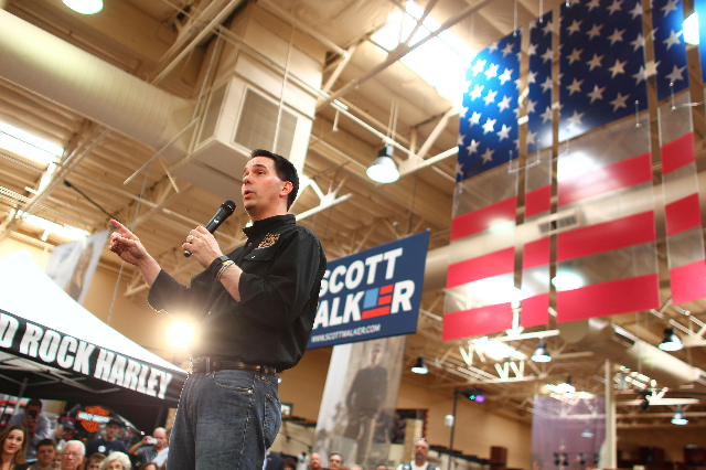 Wisconsin Gov. Scott Walker, a Republican presidential candidate, speaks during a campaign stop at Harley-Davidson, 2260 S. Rainbow Blvd., in Las Vegas on Tuesday, July 14, 2015. (Chase Stevens/La ...