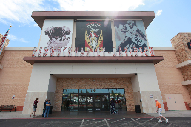 People arrive at Harley-Davidson, 2260 S. Rainbow Blvd., in Las Vegas before Wisconsin Gov. Scott Walker, a Republican presidential candidate, speaks there on Tuesday, July 14, 2015. (Chase Steven ...