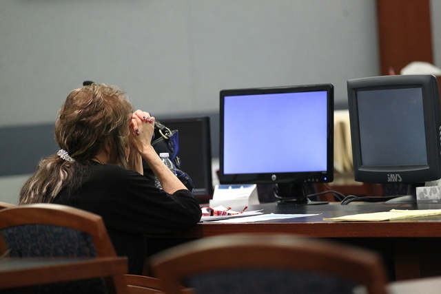 Priscilla Rocha sits in court on Wednesday, July 1, 2015. Rocha, a former Clark County School District official who admitted to stealing tens of thousands of dollars from the district, will spend  ...